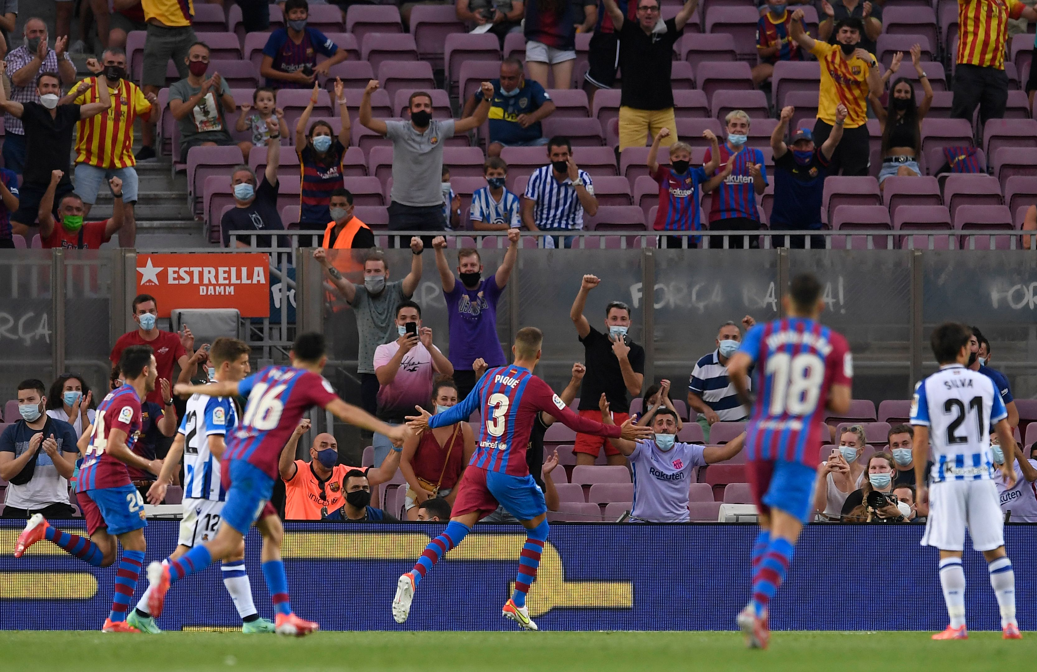 Big celebrates with Barcelona fans
