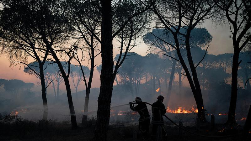 رجال الإطفاء يحاولون استخدام خراطيم المياه لإطفاء الحريق.  أ.ب