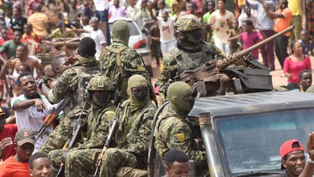 Soldiers on the streets of the capital Guinea