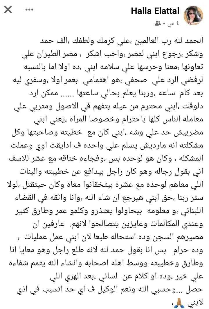 Tariq al-Aryan's son returns to Egypt after fighting with Sherin Abu al-Sass in Lebanon
