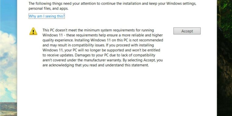 """Windows 11 warns that updates to unsupported systems have no """"rights"""""""