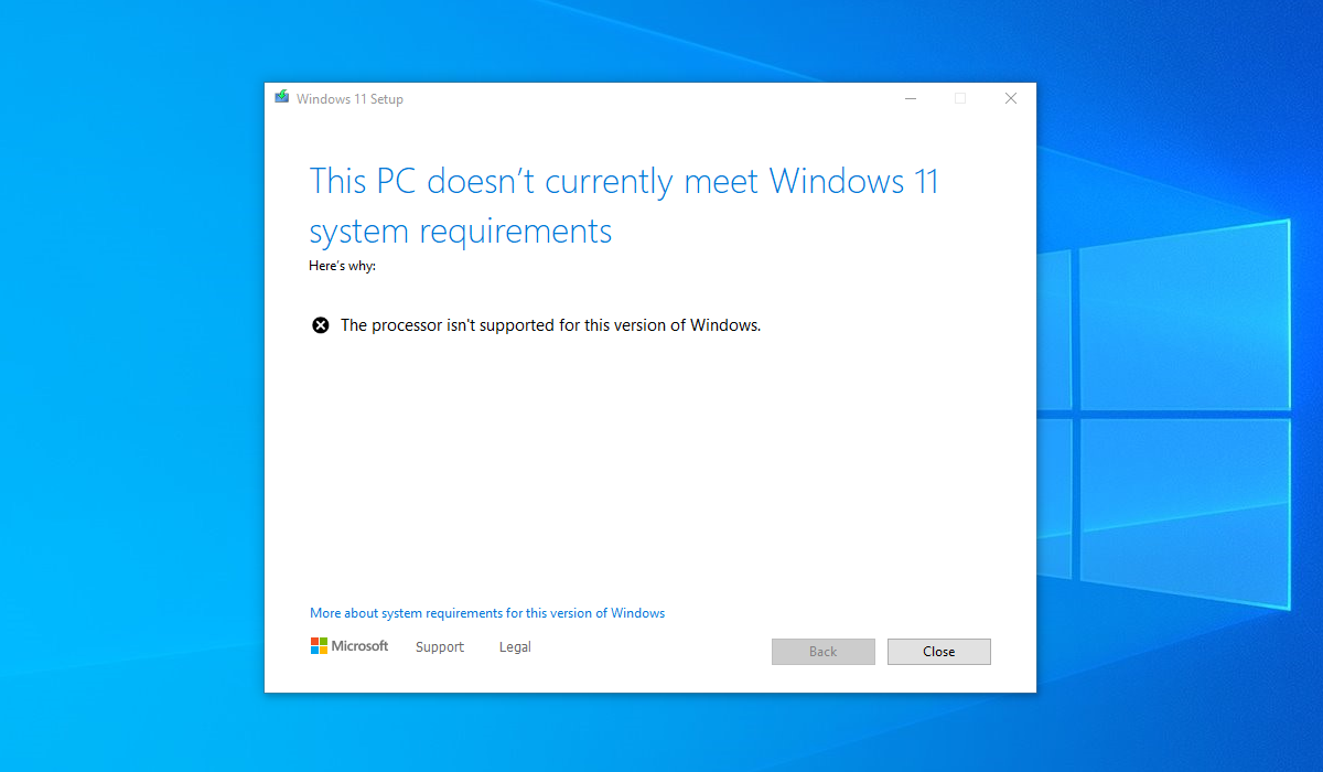 Currently, the computer screen prevents the installation of Windows 11 on unsupported computers.