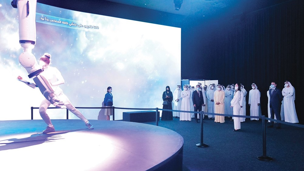Mohammed bin Rashid and his senior comrades during the tour