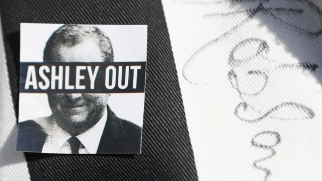 """The banner is written on it """"Ashley out"""""""