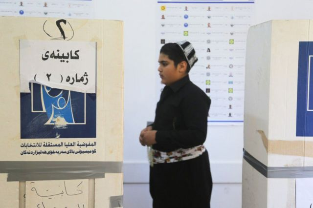 A young man voted in the Kurdistan election